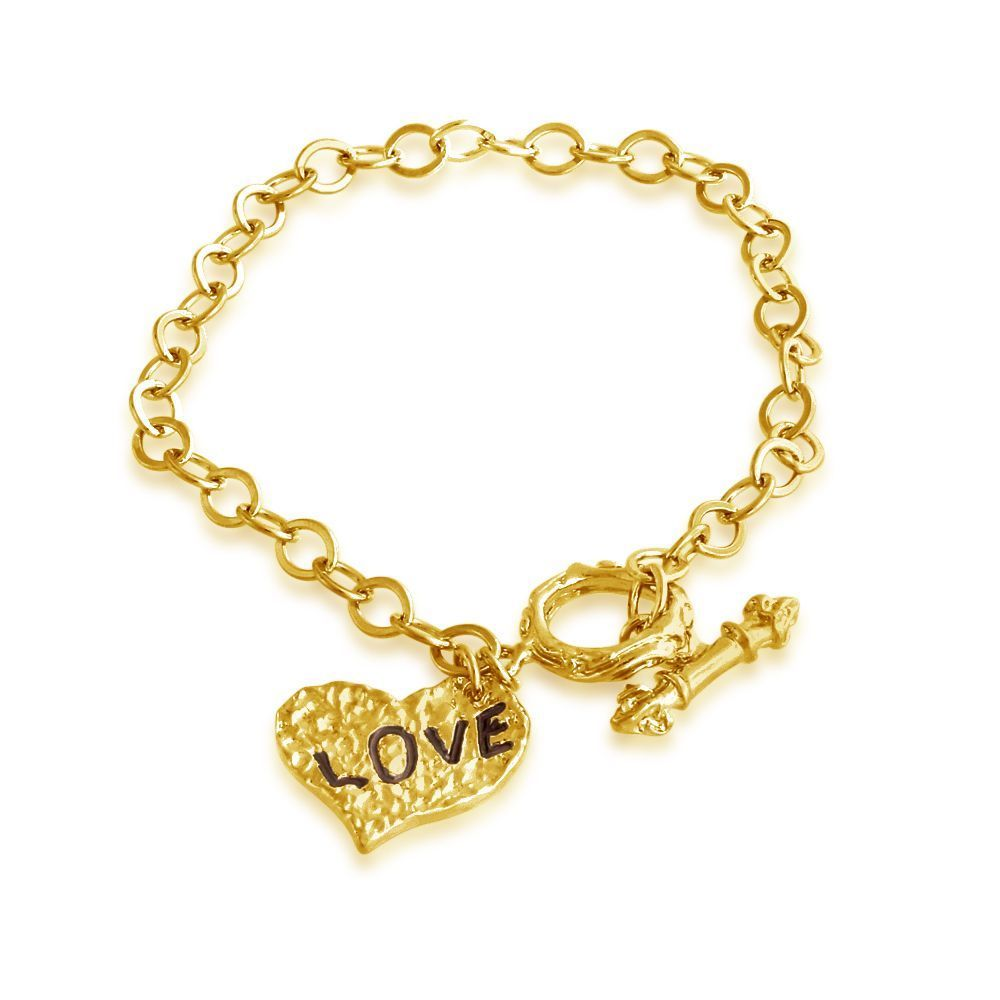 USA Belcho Gold Overlay Hammered Heart 'love' Charm Toggl...