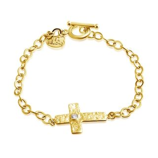 Belcho Gold Overlay Textured Cross Cubic Zirconia Center Charm Toggle Bracelet