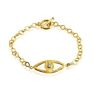 Belcho Gold Overlay Textured Eye Cubic Zirconia Center Charm Toggle Bracelet