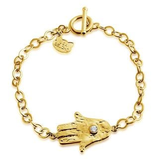 Belcho Gold Overlay Textured Hamsa Cubic Zirconia Center Charm Toggle Bracelet