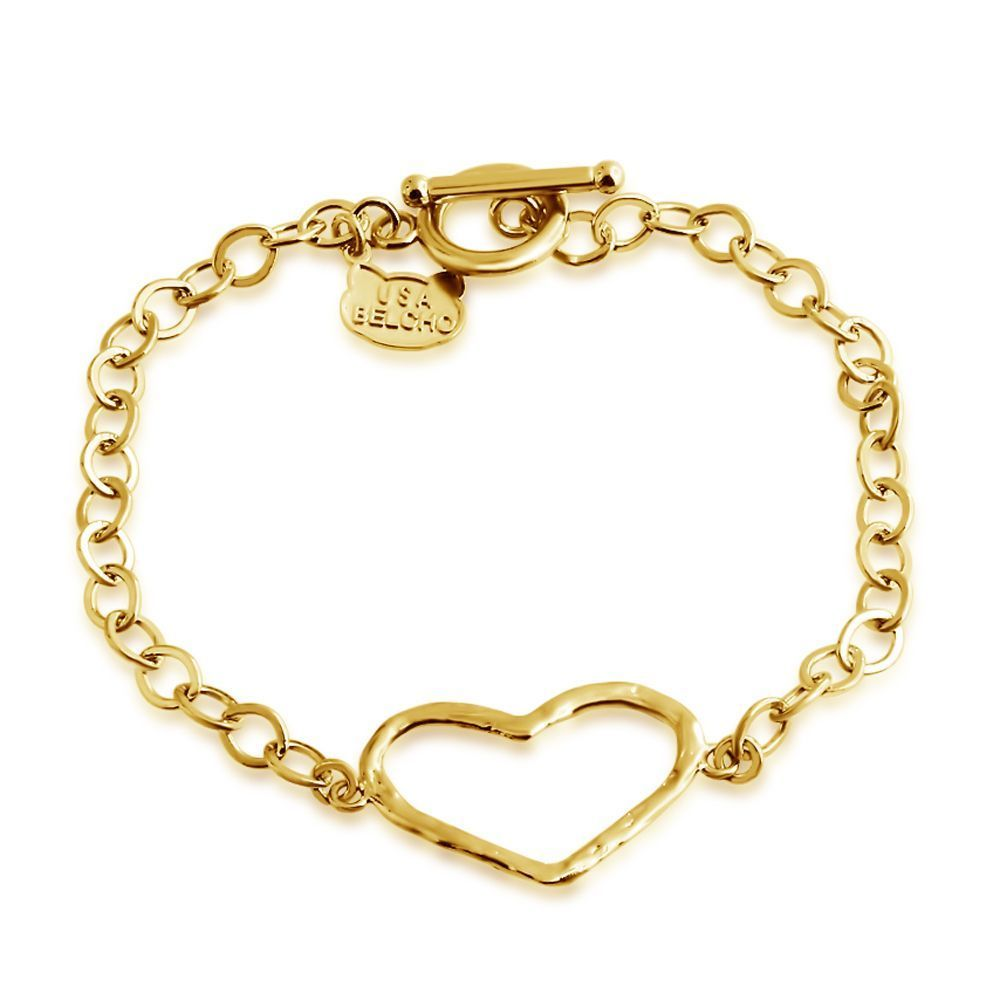 USA Belcho Gold Overlay Passion Open Heart Charm Toggle B...