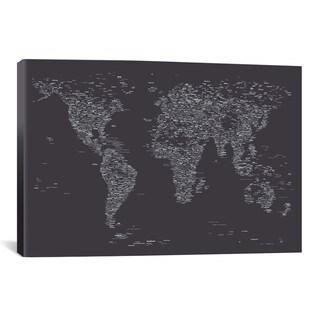 iCanvas Michael Thompsett Font World Map (Dark Gray) Canvas Print Wall Art