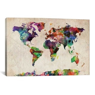 iCanvas Michael Thompsett World Map Urban Watercolor╩II Canvas Print Wall Art
