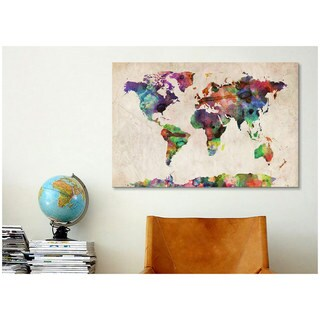 iCanvas Michael Thompsett World Map Urban WatercolorII Canvas Print Wall Art