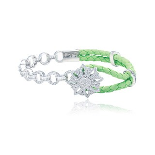 Blue Box Jewels Sterling Silver and Green Leather Cubic Zirconia Snowflake Shaped Bracelet