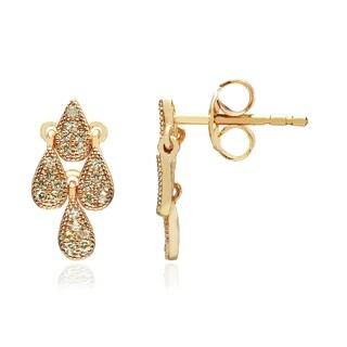 Blue Box Jewels Goldplated Sterling Silver Light Green Cubic Zirconia Morning Dew Earrings