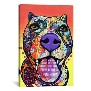 Pitbull Wall Art dean russo 'thoughtful pitbull' canvas art - free shipping on