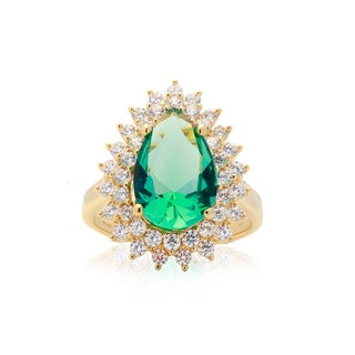 Blue Box Jewels Rose-goldtone Plated Green CZ Pear-shaped Ring