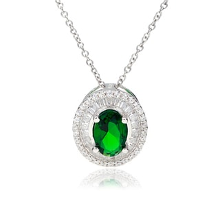 Blue Box Jewels Emerald Green CZ Halo Necklace