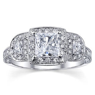 18k White Gold 1 3/4ct TDW Certified Halo Princess Diamond Engagement Ring (H-I, SI2-SI3)