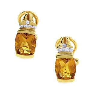 14k Yellow Gold 1/10ct TDW Diamond Citrine Earrings (H-I, SI1-SI2)