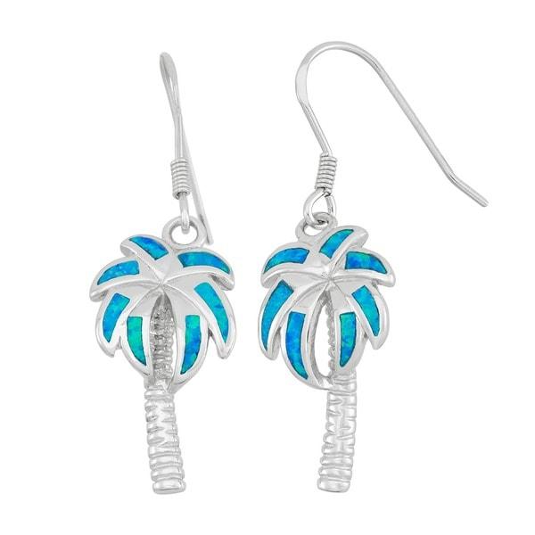 La Preciosa Sterling Silver Created Opal Palm Tree Earrings. Opens flyout.