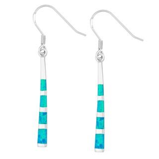 La Preciosa Sterling Silver Created Opal Long Dangling Earrings