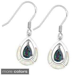 La Preciosa Sterling Silver White Opal and Cubic Zirconia Teardrop Dangle Earrings