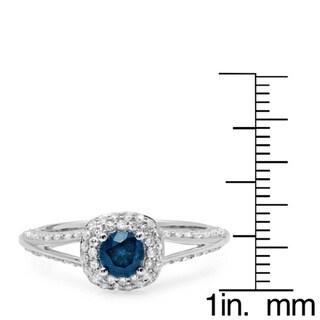 Elora 14k White Gold 7/8ct TDW Round-cut Blue and White Diamond Halo Bridal Ring (H-I, I1-I2)