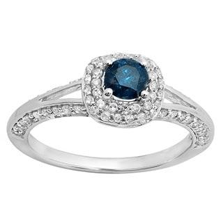 14k White Gold 7/8ct TDW Round-cut Blue and White Diamond Halo Bridal Ring (H-I, I1-I2)