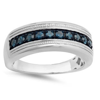 Men's Sterling Silver 1/2ct TDW Round Blue Diamond Wedding Ring
