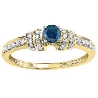 14k Gold 2/5ct TDW Round-cut Blue and White Diamond Engagement Ring (H-I, I1-I2)