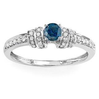 14k White Gold 2/5ct TDW Round-cut Blue and White Diamond Engagement Ring (H-I, I1-I2)