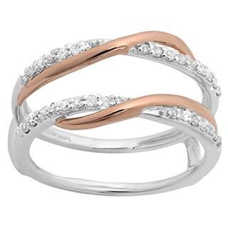 Elora 14k Two-tone 1/4ct TDW Gold Round Diamond Bridal Anniversary Wedding Ring (H-I, I1-I2)
