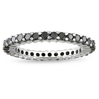 Elora 14k White Gold 1 1/2ct TDW TDW Black Diamond Eternity Wedding Ring (H-I, I1-I2)