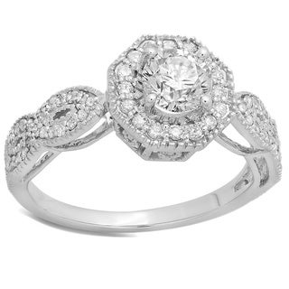 Elora 14k White Gold 1 3/5ct TDW Round-cut Diamond Bridal Vintage Style Halo Engagement Ring