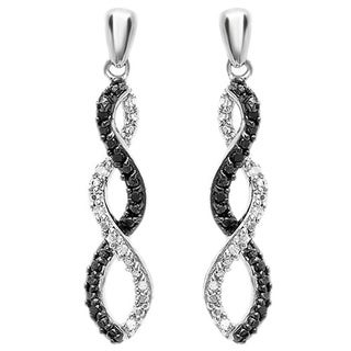 Elora Sterling Silver 1/10ct Round Cut Black & White Diamond Infinity Swirl Dangling Earrings