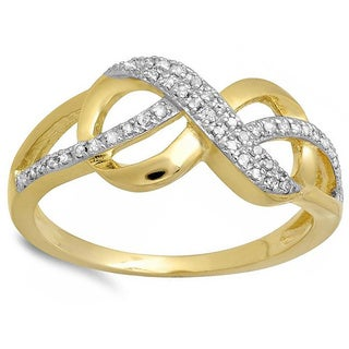 Elora 18k Yellow Goldplated Sterling Silver 1/6ct TDW Diamond Infinity Ring (H-I, I1-I2)