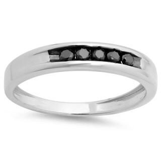 Elora Sterling Silver 1/4ct TDW Black Diamond Men's Channel-set Wedding Ring