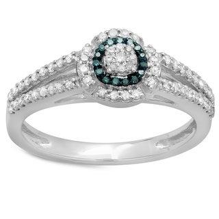 Elora 14k White Gold 2/5ct TDW Round-cut Blue and White Diamond Bridal Split Shank Halo Engagement Ring (H