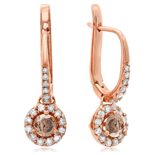 14k Rose Gold 1/2ct TDW Round Champagne and Diamond Halo Style Dangling Drop Earrings (H-I, I1-I2)