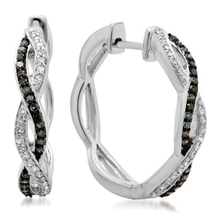Elora 14k White Gold 1/4ct TDW Diamond Twisted Swirl Hoop Earrings (H-I, I1-I2)