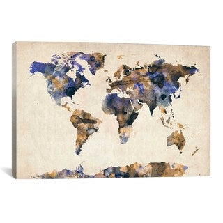 iCanvas Michael Thompsett Urban Watercolor World Map V Canvas Print Wall Art