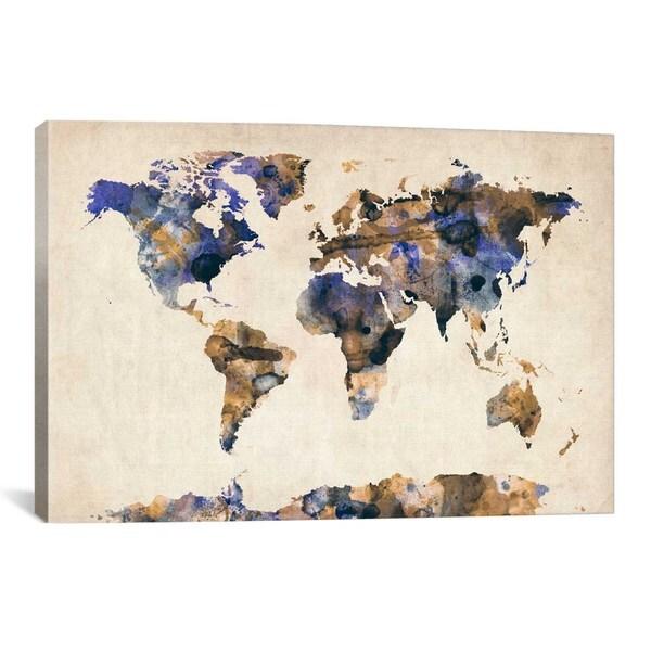 Urban Watercolor World Map.Shop Icanvas Michael Thompsett Urban Watercolor World Map V Canvas