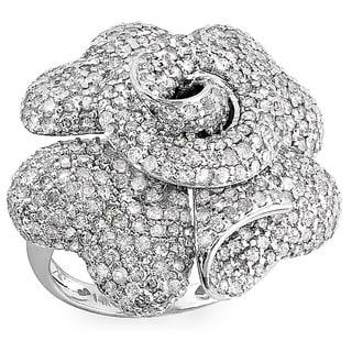 14k White Gold 4 1/10ct TDW Diamond Flower Rose Ring (H-I, I1-I2)