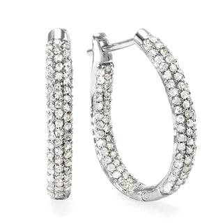 Elora Sterling Silver 4/5ct TDW Hoop Pave Set Diamond Earrings (H-I, I1-I2)