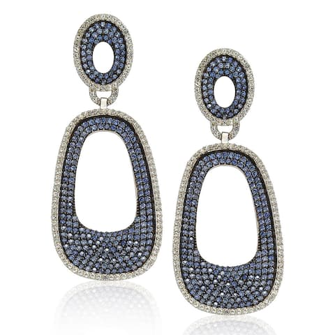 Suzy L. Sterling Silver Blue and White Sapphire Pave Earrings