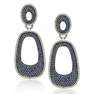 Suzy Levian Sterling Silver Blue and White Sapphire Pave Earrings (Option: Sapphire)|https://ak1.ostkcdn.com/images/products/9624563/P16810789.jpg?impolicy=medium