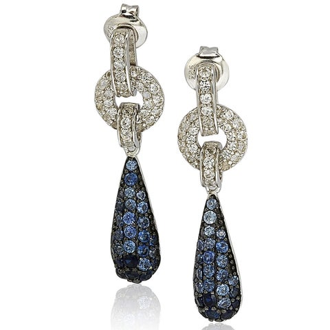 Suzy Levian Sterling Silver Sapphire and Diamond Accent Tear Drop Dangle Earrings