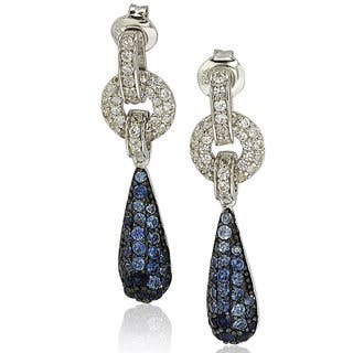 Suzy Levian Sterling Silver Sapphire and Diamond Accent Tear Drop Dangle Earrings|https://ak1.ostkcdn.com/images/products/9624572/P16810790.jpg?impolicy=medium