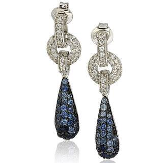 Suzy Levian Sterling Silver Sapphire and Diamond Accent Tear Drop Dangle Earrings (Option: Sapphire)|https://ak1.ostkcdn.com/images/products/9624572/P16810790.jpg?impolicy=medium
