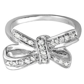 Sterling Silver 2/5ct TDW Diamond Bow Ring (H-I, I1-I2)