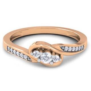 10k Rose Gold 1/4ct TDW Diamond 3-stone Promise Ring (H-I, I1-I2)