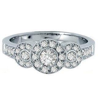 14k White Gold 5/8ct TDW Brilliant Round Diamond 3-stone Bridal Engagement Ring (H-I, I1-I2)