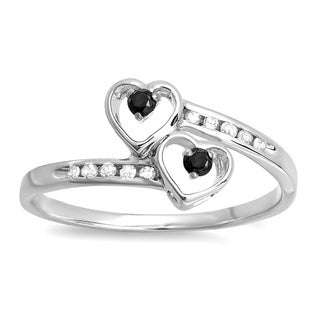Elora Sterling Silver 1/6ct TDW Black and White Diamond Double Heart Promise Ring (I-J, I1-I2)