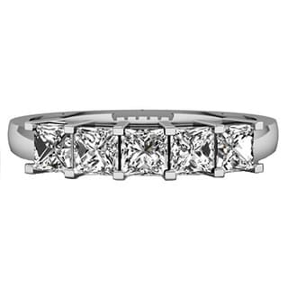 14k White Gold 1ct TDW Princess-cut White Diamond 5 Stone Bridal Wedding Ring (H-I, I1-I2) Annive