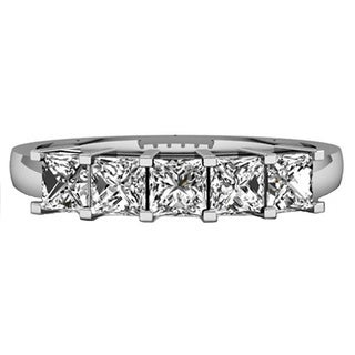 Elora 14k White Gold 1ct TDW Princess-cut White Diamond 5 Stone Bridal Wedding Ring (H-I, I1-I2) Annive