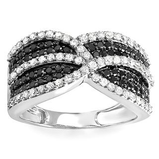 Elora 10k White Gold 1 1/6ct TDW Black and White Diamond Cocktail Right Hand Ring (H-I, I1-I2)