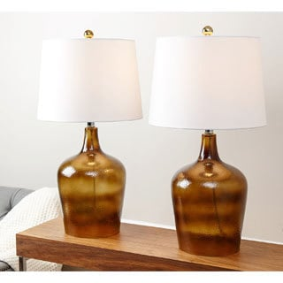 Abbyson Azure Smoke Brown Glass Table Lamp (Set of 2)