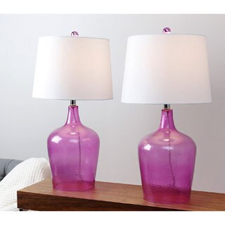 Abbyson Azure Purple Glass Table Lamp (Set of 2)